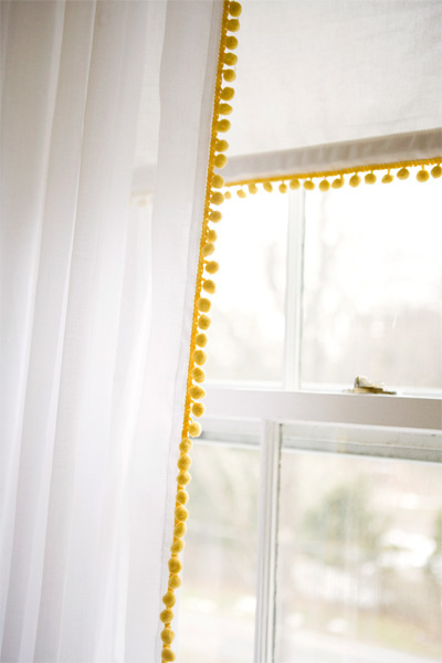 yellow pom curtains