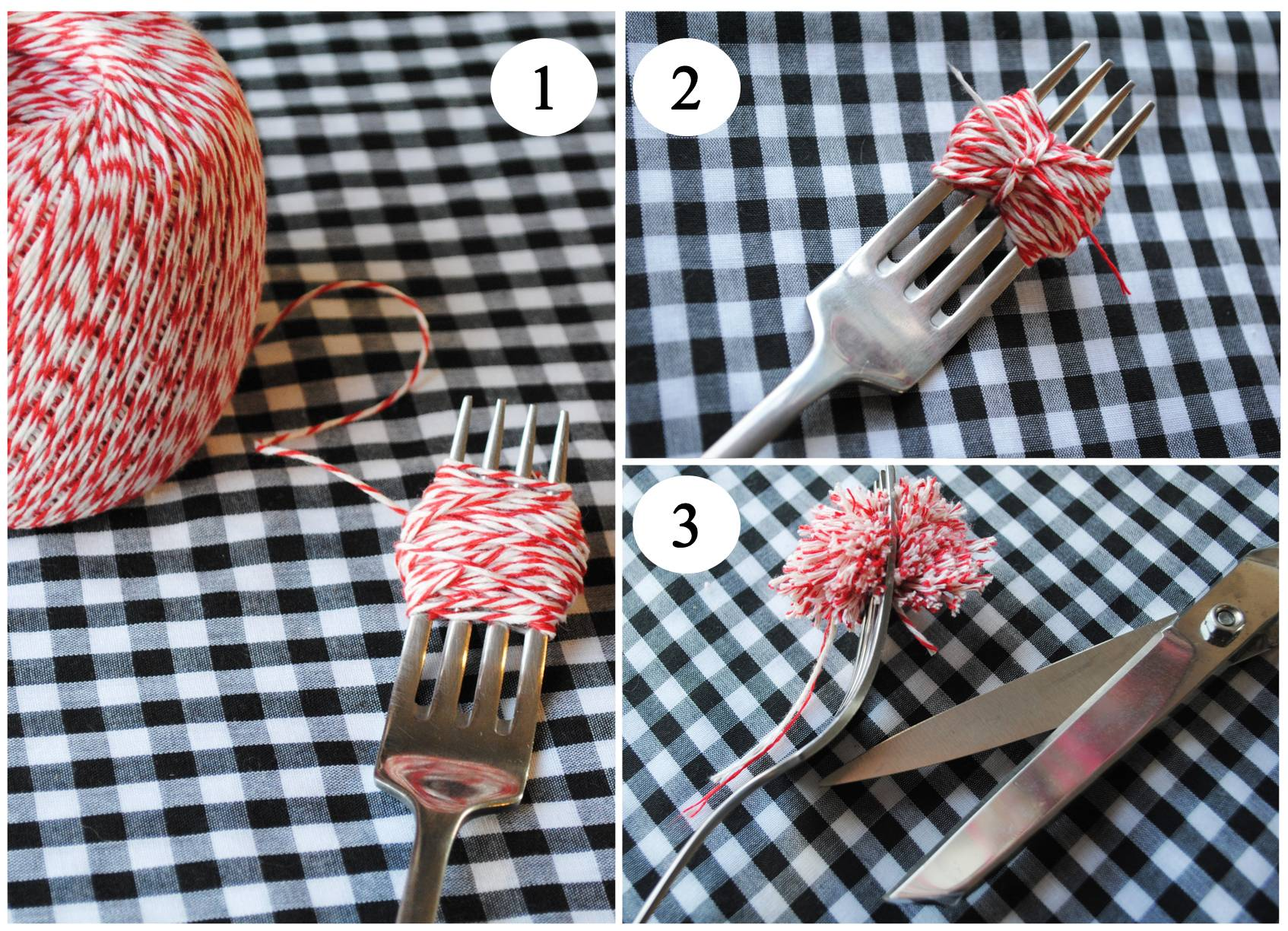 how to make a pom pom with a fork